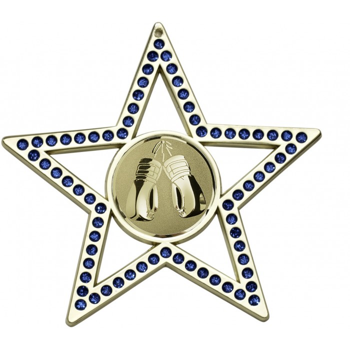 75MM BLUE STAR KICKBOXING MEDAL - GOLD, SILVER, BRONZE
